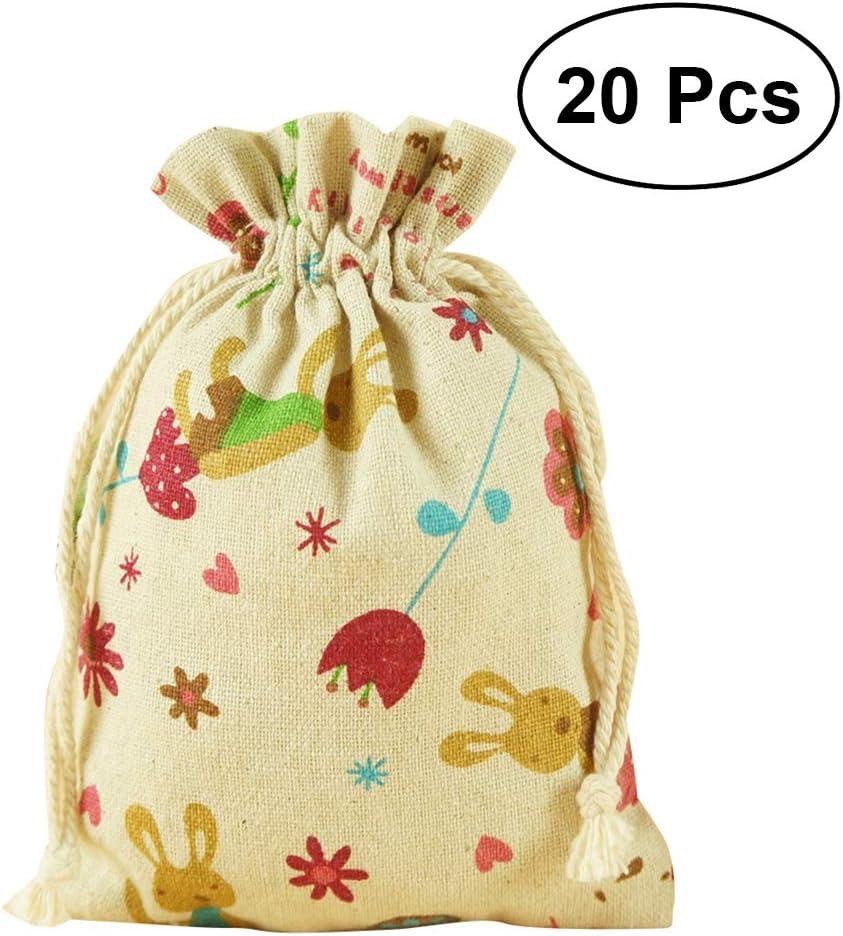 OUNONA Sac de Jute Pochette /à Bijoux Petit Sac Cadeau /à Cordon 20pcs