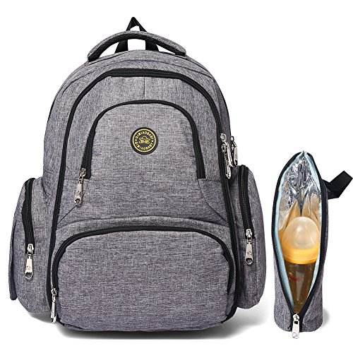 FIGESTIN Upgraded Baby Diaper Bag Multi-Function Travel Daddy & Mummy Nappy Backpack Purse Anti-water with Changing Pad Stroller Straps And Insulated Sleeve, Large Capacity, Luxury Grey