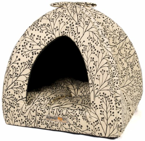 AlphaPooch Napper Cat Den, Black Berry Branch Fabric with Black Solid Interior, My Pet Supplies