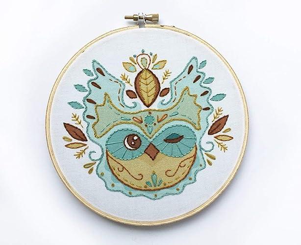 Amazon Com Owl Leaves Beginner Hand Embroidery Sampler Handmade
