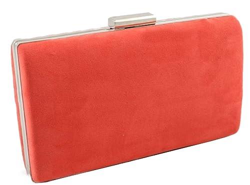 Mis Bolsos Online bolso de fiesta clutch Antelina naranja: Amazon.es: Zapatos y complementos