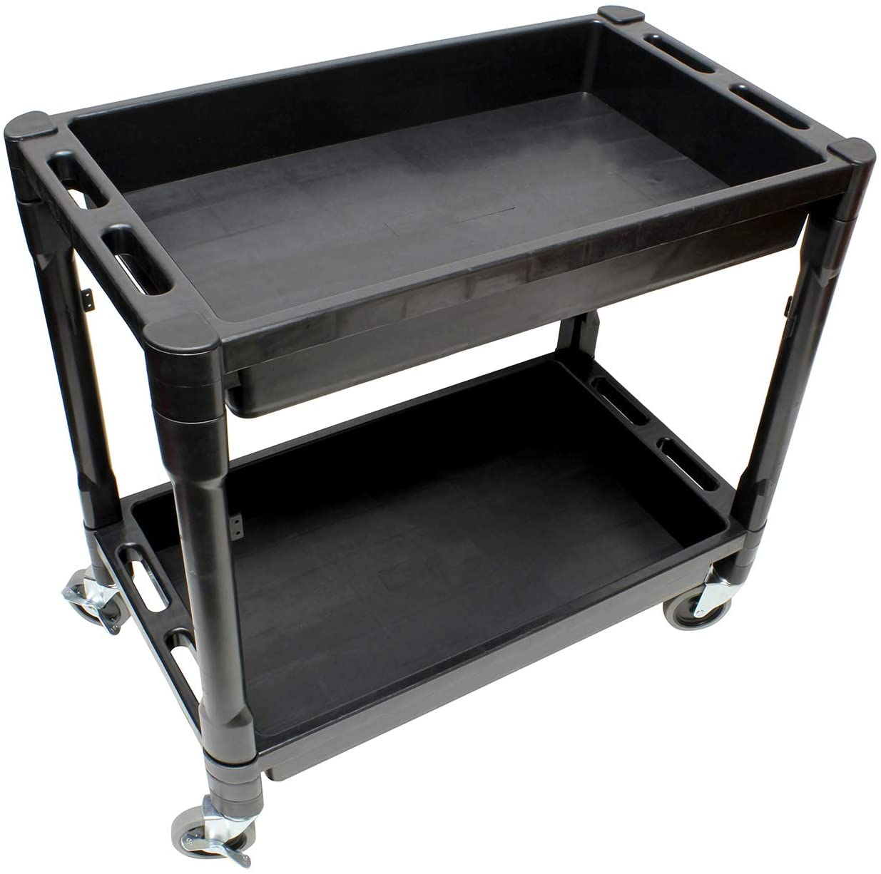 BISupply Plastic Utility Rolling Cart with Shelves Rolling Tool Cart on Wheels, Utility Service Cart Plastic Push Cart