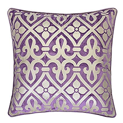 Homey Cozy Foil Applique Purple Throw Pillow Cover,Gold Series Vintage Godines Luxury Silk Blush