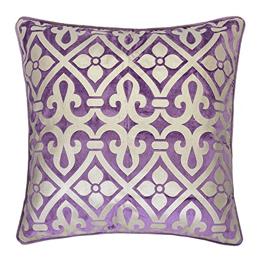 Homey Cozy Foil Applique Purple Throw Pillow Cover,Gold Series Vintage Godines Luxury Silk Blush Velvet Sofa Couch Decorative Pillow Case 20x20,Cover Only