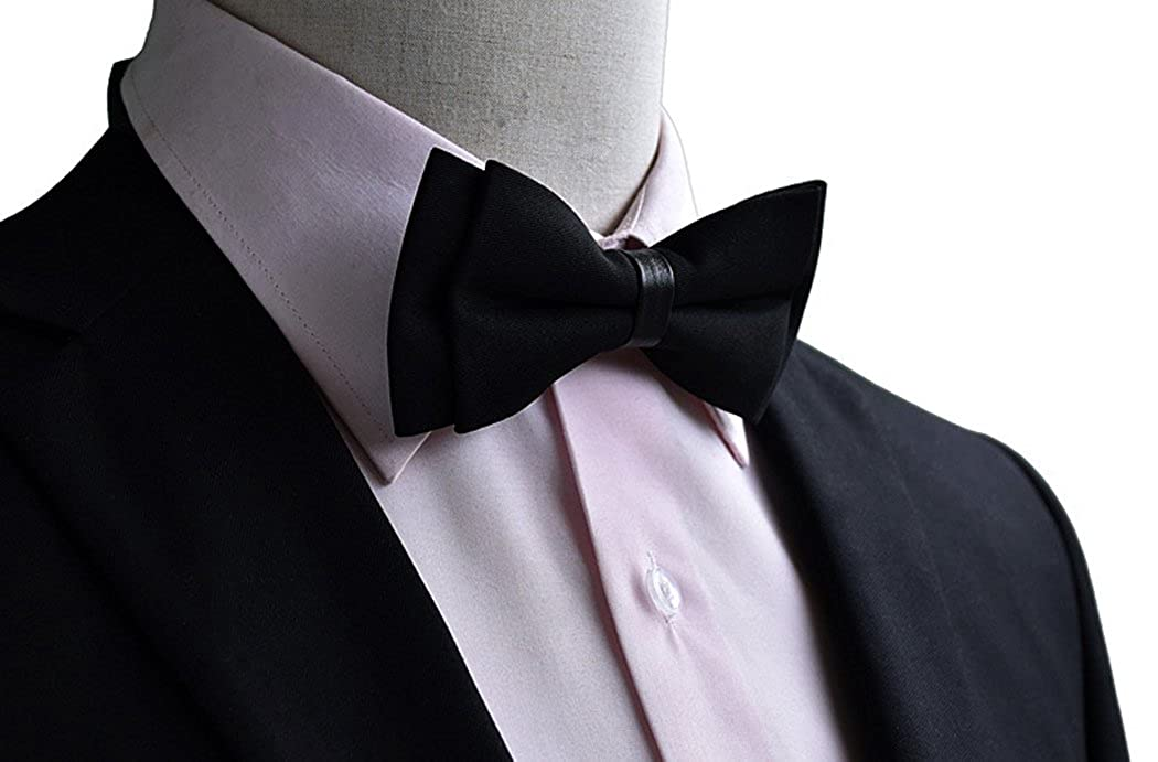 Variety Colors Available Levao Mens Classic Pre-Tied Solid Colors Bow Tie