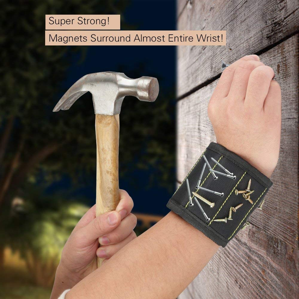 Zouxin Magnetic Wristband,5 Rows Strong Magnets Adjustable Magnetic Wrist Band for Holding Screws,Nails,Drill Bits and Small Tools,Very Unique Tool Gift for DIY Handyman