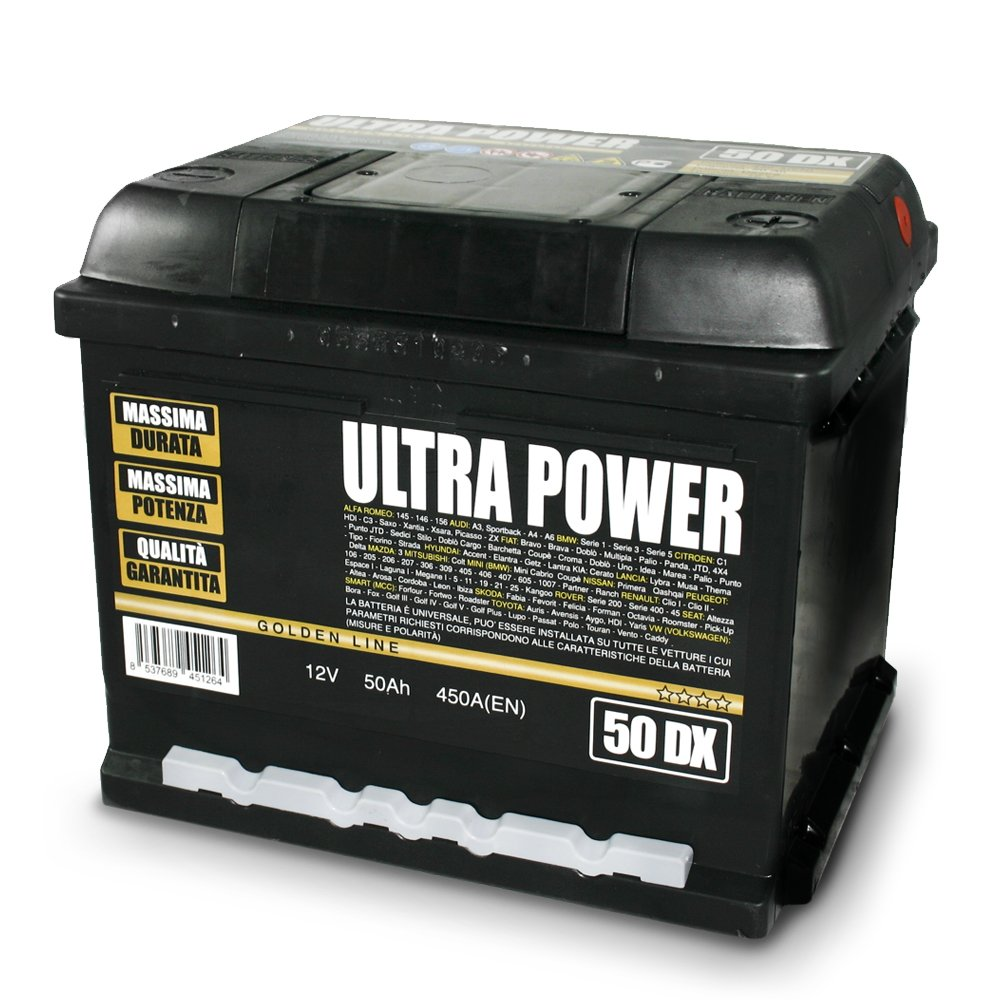 ULTRA POWER Batteria per auto 50Ah DX 450A pronta all'uso lunga durata e potenza