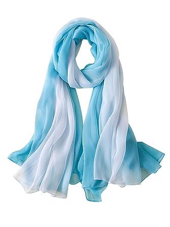 9d14cd790368 DAMILY Foulard Femmes Graduel Coloriage Jolie Châle Wrap Fantastique Soie  Printemps Accessoire de Vacances (Bleu