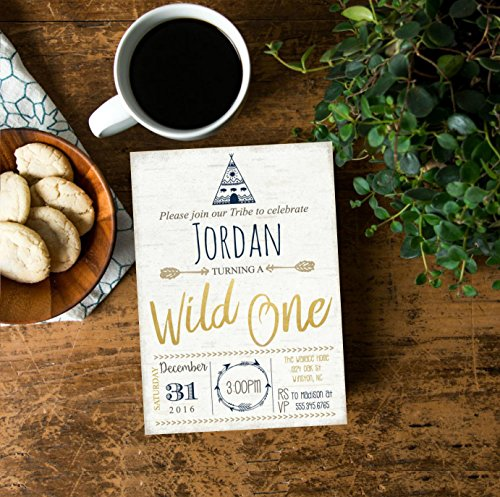Tribal Wild one First Birthday Party invite, Arrow Hipster Adventure Tee Pee Boys Navy Blue Gold Printable Printed, Birch Wood #2008 ()