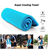 "Microfiber Cooling Towel –Chilly Towel for Instant Relief Sports Running Workout Fitness Travel Camping & Yoga,40 x 12"" with Carabiner Package, Light Blue"