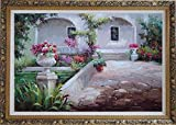 "Framed Oil Painting 24""x36"" Colorful Garden at Back Yard Naturalism Ornate Frame"