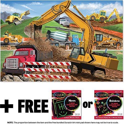 ece Floor Puzzle + FREE Melissa & Doug Scratch Art Mini-Pad Bundle (89005) ()