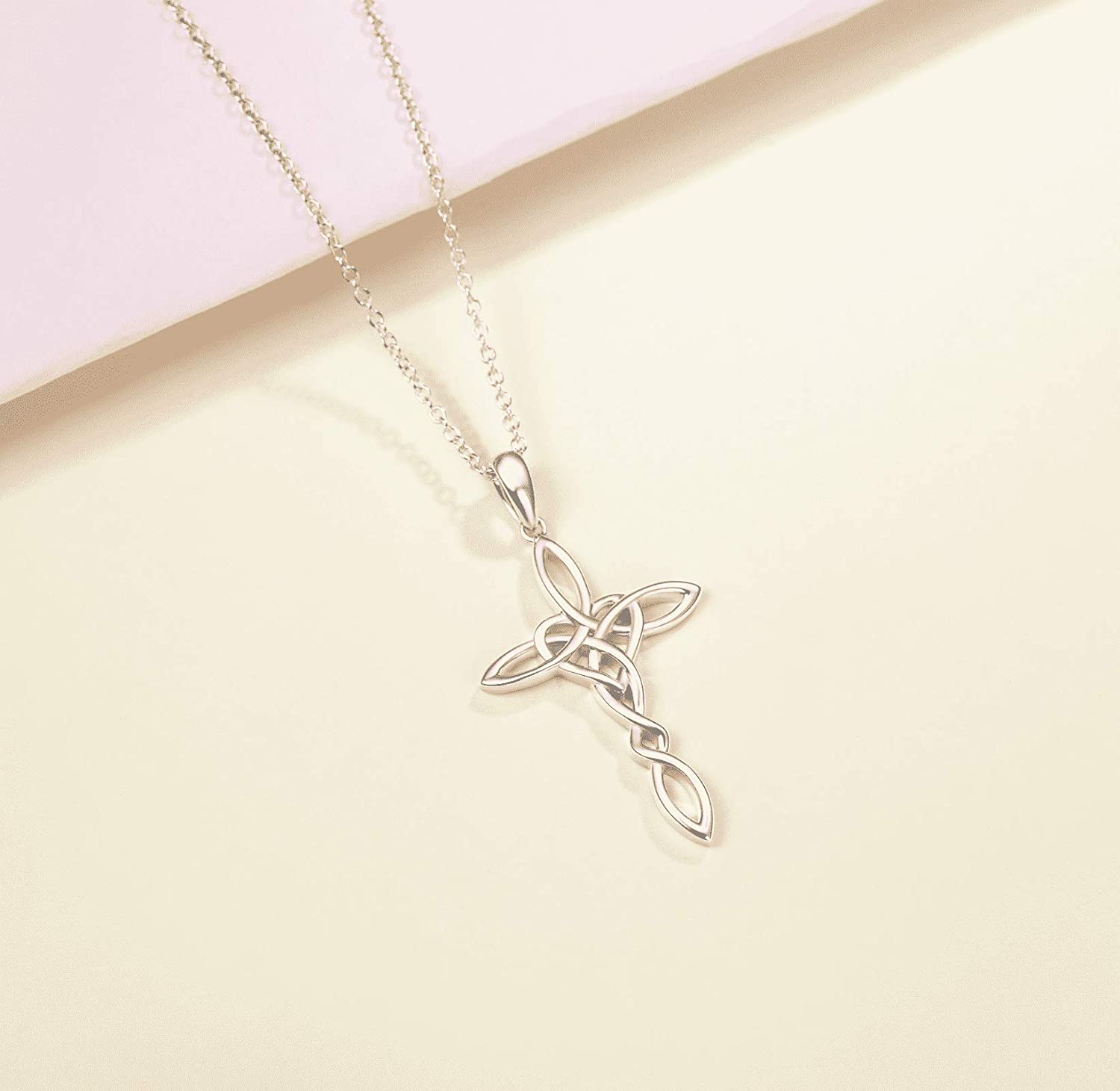FANCIME 14K White Gold Plated Sterling Silver Celtic Knot Crucifix-Cross Heart Knot Pendant Necklace Polished Look for Women Girls,16+2
