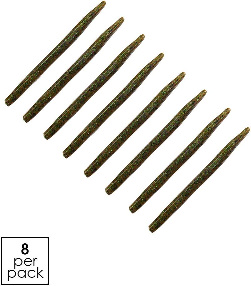 "Soft Plastic Stick Worm 8 Pack Black 5/"""