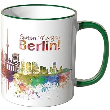 Wandkings Tasse Schriftzug Guten Morgen Berlin Mit Skyline Grün