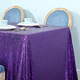 Zdada Purple 55''x80'' Sequin Tablecloth Wedding Banquet Party Rectangle Table Cover