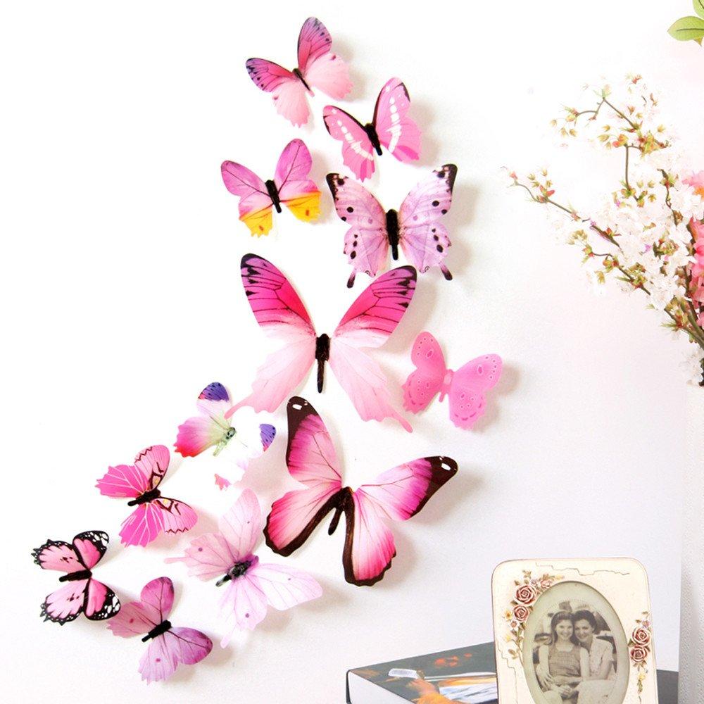 iumei 12pcs Wall Stickers 3D Wallpaper DIY Wall Stickers Wall Home Decor Home Decorations 3D Butterfly Rainbow (Blue)
