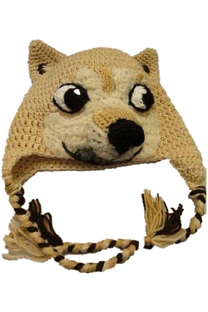 Hand Made Husky Hat Cute Animal Winter Hand Knitting Hat Doge