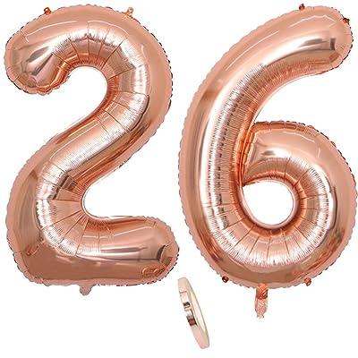 """2 Globos Número 26 Años, Number 26 Globo Chica de oro rosa, 40""""Figuras de globos con globo de lámina de helio inflable, Globo gigante para la decoración de la fiesta de cumpleaños, Prom (xxxl 100cm): Juguetes y juegos"""