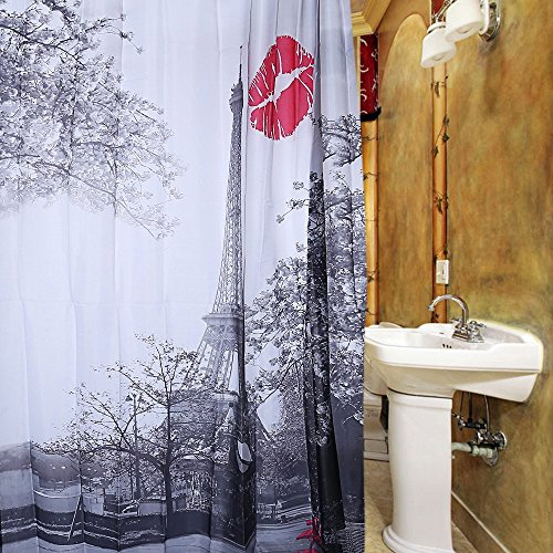 shower-curtain-liner-cityscape-grey-paris-eiffel-tower-red-lip-design-pattern-waterproof-polyester-b