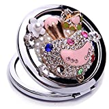 EVTECH(TM) 3D Bling Crystal Rhinestones Stainless Travel Compact Pocket Crystal Folding Foldable Makeup Mirror(100% handmade)