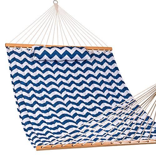 Lazy Daze Hammocks Quilted Fabric Hammock Hardwood Spreader Bar Poly Pillow, 55 Double Size, Blue Chevron Stripe