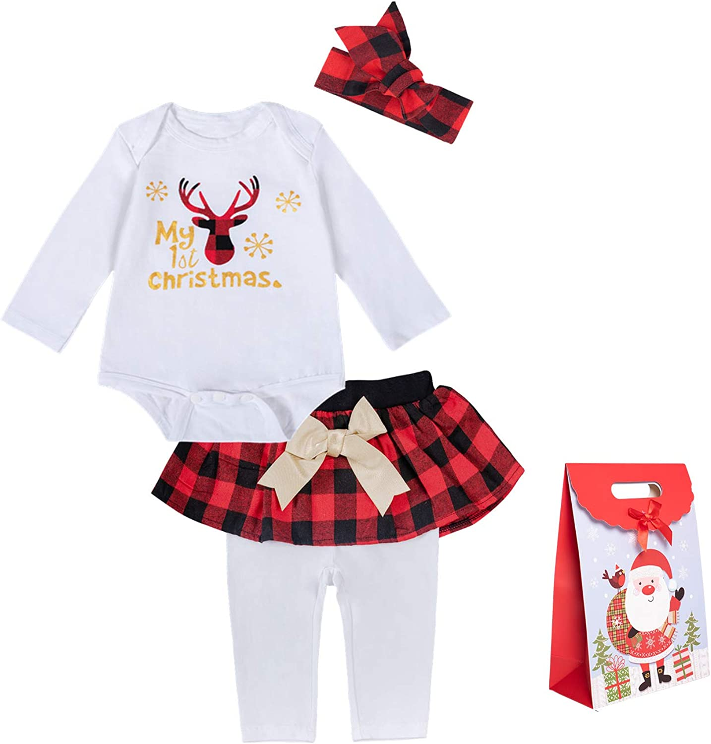 Shalofer 4PCS Baby Girls First Christmas Outfit 1st Xmas Gold Glitter Bodysuit