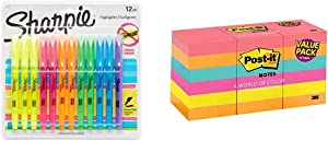 Sharpie Pocket Highlighters, Chisel Tip, Assorted Colors, 12-Count with Post-it Notes, America's #1 Favorite Sticky Note, 1 3/8 in x 1 7/8 in, Cape Town Collection