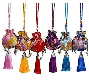 Amazon.com: Bolsas de seda chinas con brocado para monedas ...