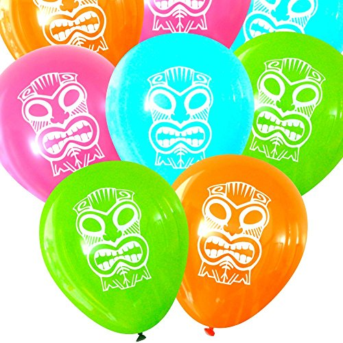 Tiki Mask Island Luau Balloons (16 pcs) by Nerdy Words - Island Tiki Mask