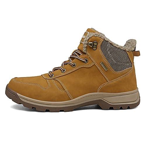 Fexkean Scarpe da Trekking Stivali da Escursionismo in Pelle Impermeabile  per Invernali Uomo Outdoor Nero Marrone 04de8cafee2