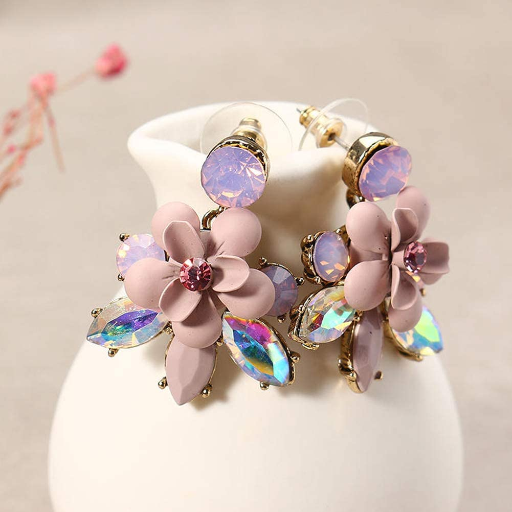 Hobbyant Sweet Pink Flower Jewelry Set Elegant Colorful Crystal Earrings Necklace for Women Gift