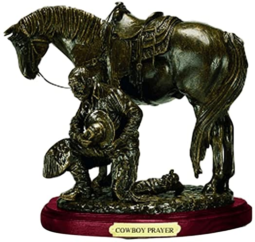 Western Moments Unisex Cowboy Prayer Statue Brown One Size