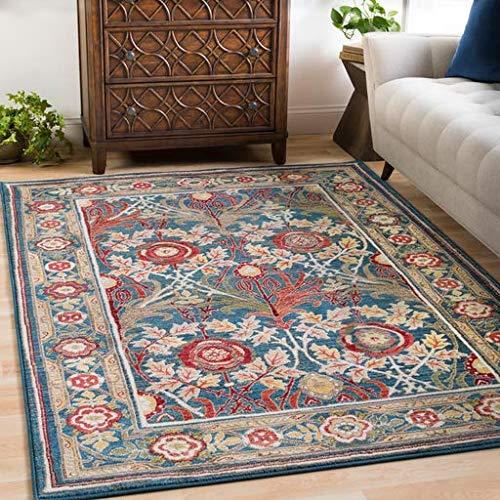 Haddington Arts and Crafts Blue 3' x 5' Rectangle Traditional 100% Polypropylene Navy/White/Khaki/Camel/Burnt Orange/Dark Red/Bright Yellow/Saffron/Olive/Dark Brown Area Rug
