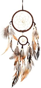 Dream Catchers Handmade Feather Native American Dreamcatcher Circular Net for Men Boys Kids Bed Room Bedrooms Car Wall Hanging Decoration Decor Ornament Craft(Dia 4.33inch/11cm &1.97inch/5cm) Brown