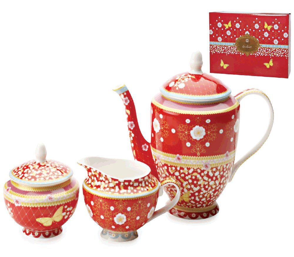 Teapot With Sugar & Creamer Set