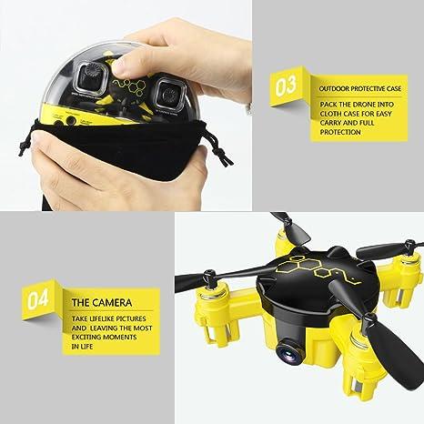 Cewaal FQ04 Mini Pocket Drone con cámara de Video en Vivo, 3D ...