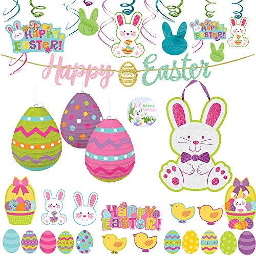 MEGA Easter 48 Piece Party Decoration Pack with Swirl Decorations, Glitter Easter Bunny Sign, 3 Easter Egg Lantern Decoration, 30 Easter Cutouts, 1 Happy Easter Glitter Sign and Exclusive Easter Pin ()