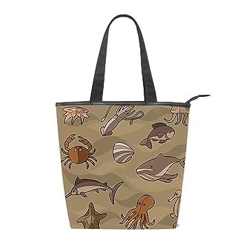 bbd6f6f8a893 Amazon.com : Canvas Aquatic Seahorse Tote Bag Zipper Closure ...