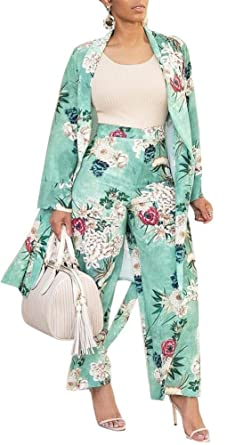 b0fb075a6840d VLUNT Women's 2 Piece Outfits Floral Print Kimono Cardigan and High Waist  Wide Leg Long Pants