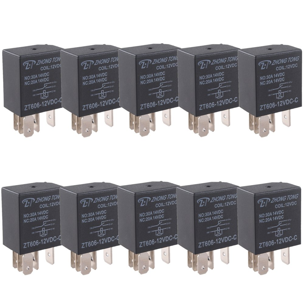ESUPPORT Car Relay 12v 30a Spdt 5pin Pack of 10
