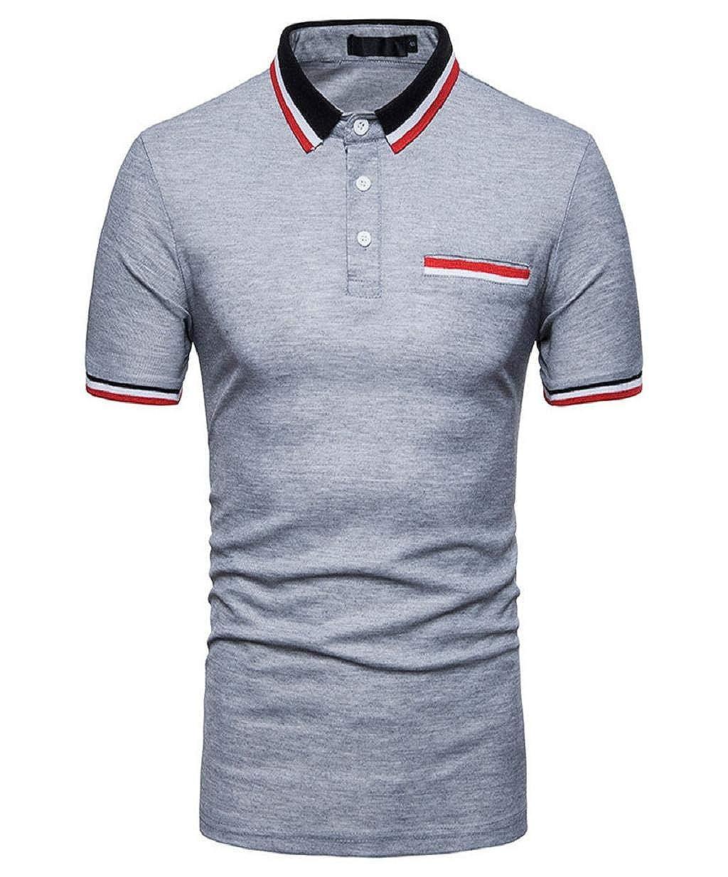 Camisas Polo Camisas para Hombre Manga Corta Jersey con Cuello ...