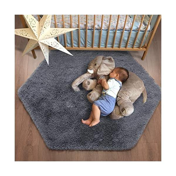 Junovo Ultra Soft Rug for Nursery Children Room Baby Room Home Decor Dormitory Hexagon Carpet for Playhouse Princess Tent Kids Play Castle, Diameter 4.6 ft, Grey