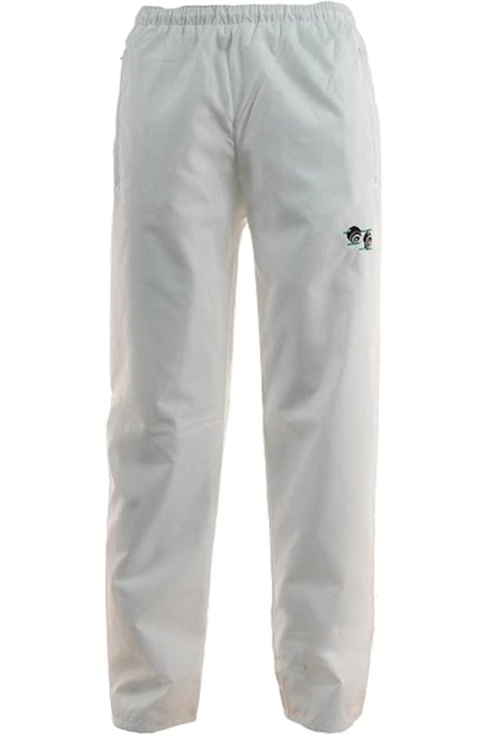 New Bowls Lawn Bowling Unisex Men's Woman's Waterproof Trousers with Bowls Logo Elasticated adjustable waist Free Shipping (Large, White)
