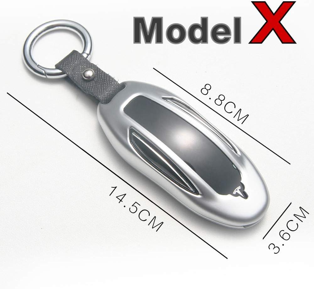 Silver, Model X gppower Zinc Alloy Car Key Fob Cover Auto Remote Key Fob Shell Protector Case Holder for Tesla Model X
