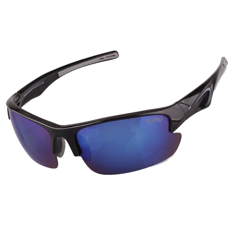 xqhd偏光スポーツサングラス野球ランニングサイクリング釣りゴルフUnbreakableフレーム B01MD10KX8 ブラック, 川淵帽子店 099a793c