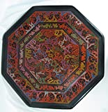 Octagonal Olinala Hand Carved Incised Jewelry Rolling Perfume Small 14'' X 14'' X 14'' Tray Lacquerware Crafted in Mexico (Black - Rainbow Forest)