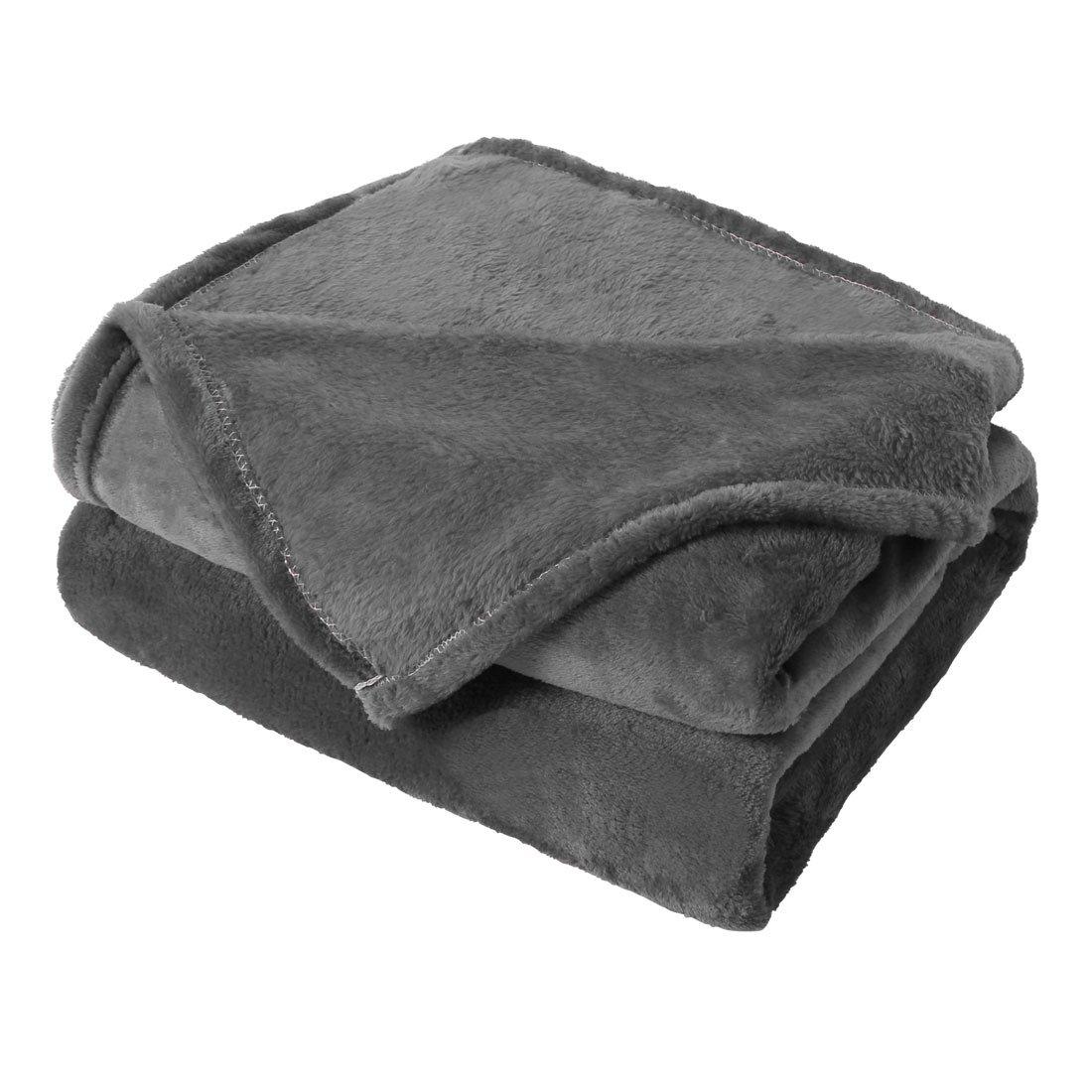 uxcell Flannel Fleece Blanket Microfiber Lightweight Soft Plush Solid Queen Blankets Dark Gray 90 x 90 Inch