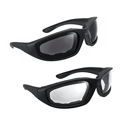 Motorcycle Riding Glasses - 2 Pair Smoke & Clear Biker Foam Pad: Sports & Outdoors