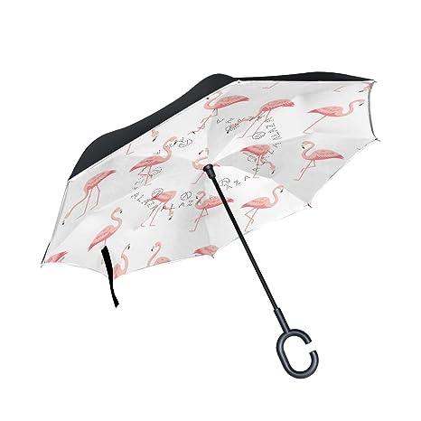 jstel doble capa puede Flamingo blanco paraguas coches ...